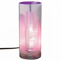 "Lampe Cylindrique à Poser ""Touch NYC"" 29cm Violet"
