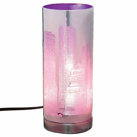 """Lampe Cylindrique à Poser """"Touch NYC"""" 29cm Violet"""