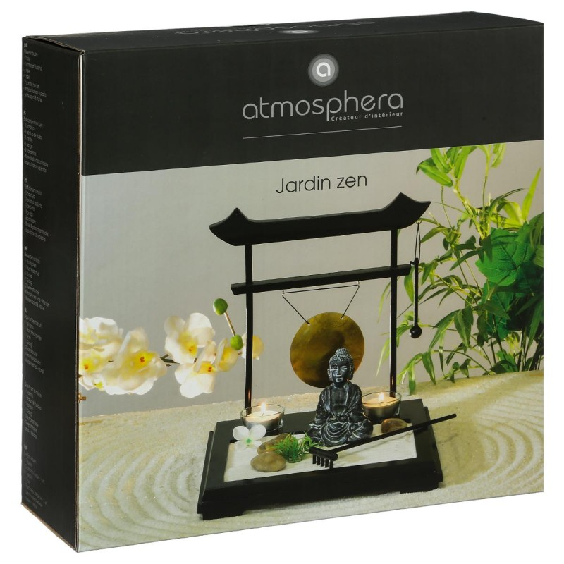 jardin zen bouddha tori 26x26cm noir. Black Bedroom Furniture Sets. Home Design Ideas