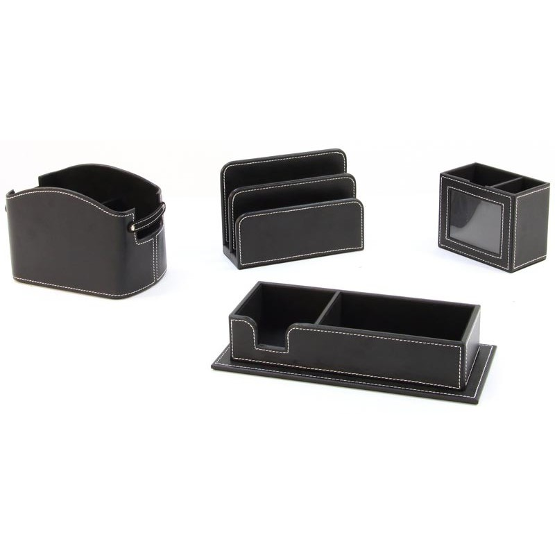 Set de bureau 4 pi ces en simili cuir for Set de bureau fantaisie