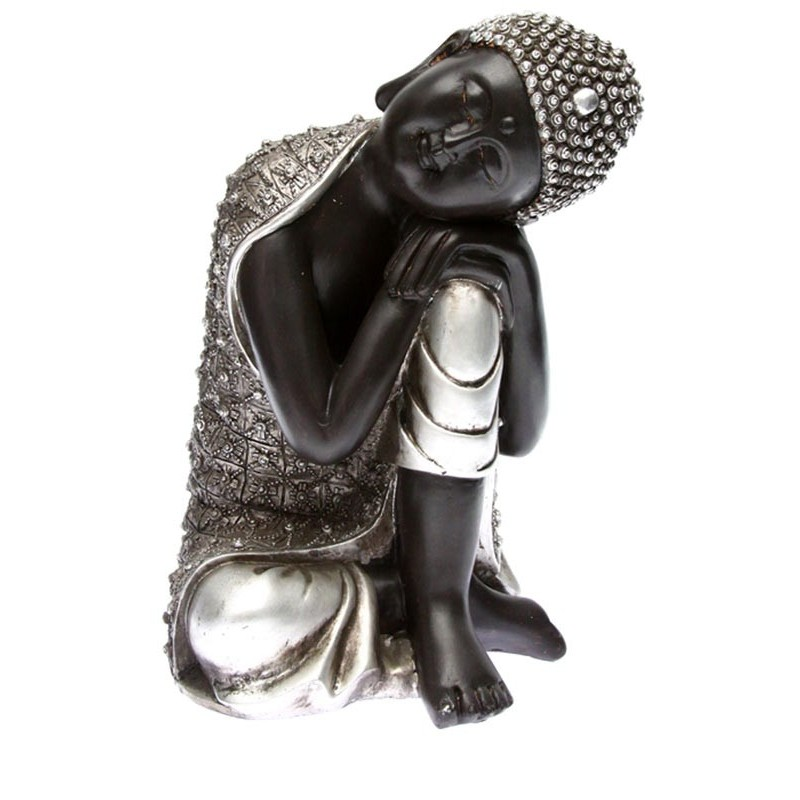 statue bouddha argent t te pos e 28cm. Black Bedroom Furniture Sets. Home Design Ideas