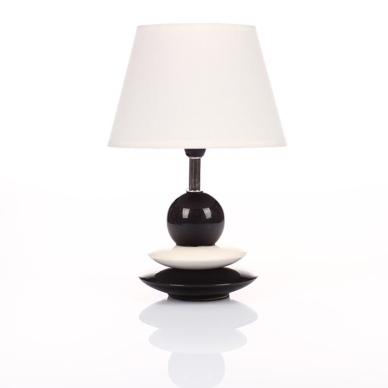 lampe galets noir blanc 30cm. Black Bedroom Furniture Sets. Home Design Ideas