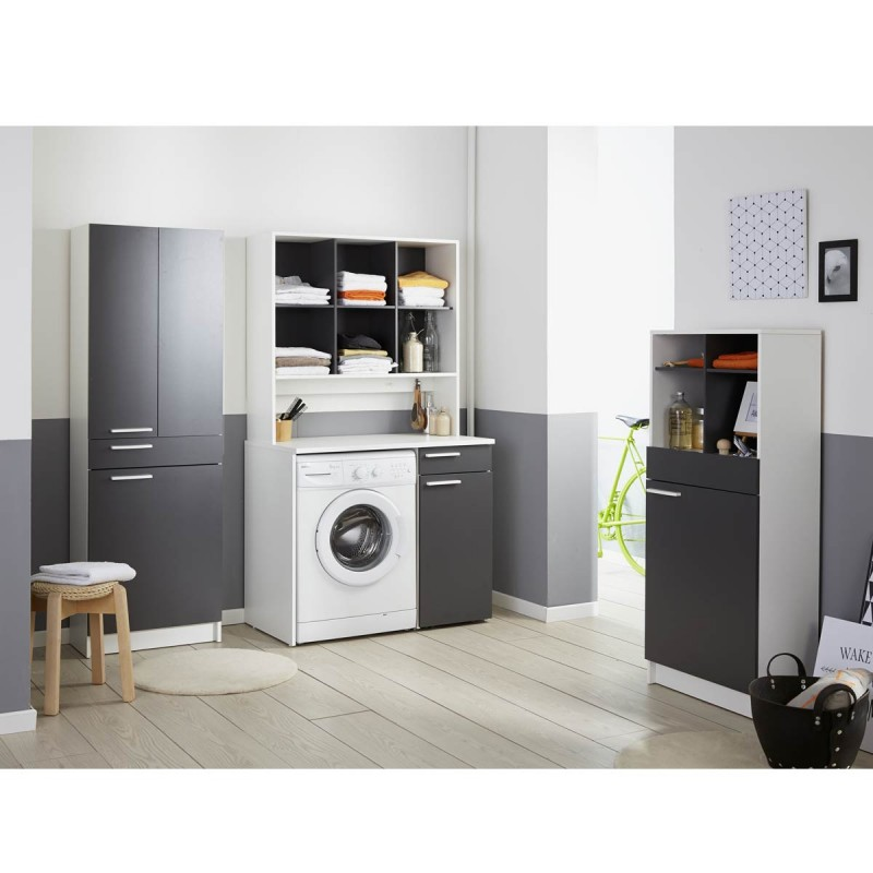 meuble rangement pour machine laver verzak 104cm gris. Black Bedroom Furniture Sets. Home Design Ideas