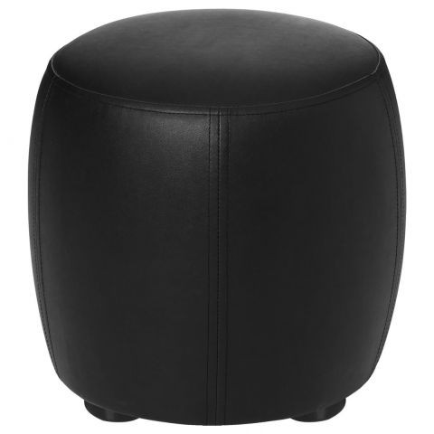 pouf rond simili cuir noir 31 5cm. Black Bedroom Furniture Sets. Home Design Ideas