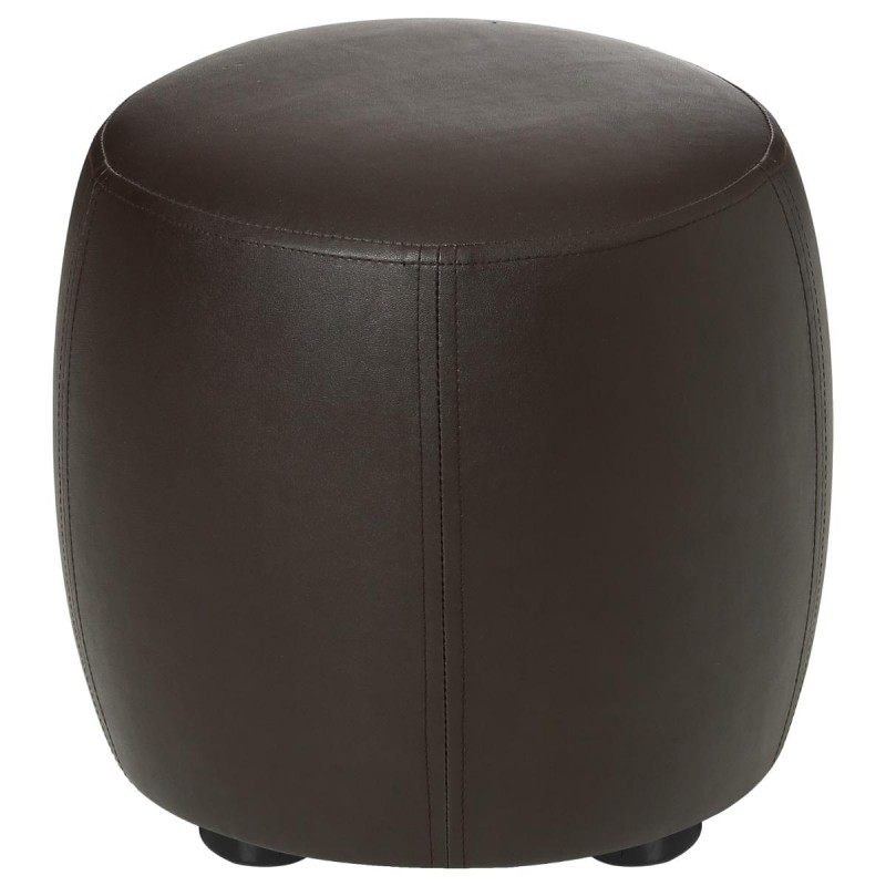 pouf rond simili cuir marron 31 5cm. Black Bedroom Furniture Sets. Home Design Ideas