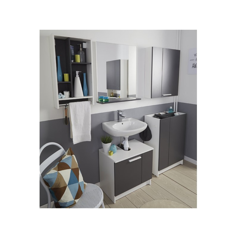 meuble sous lavabo verzak 59cm gris. Black Bedroom Furniture Sets. Home Design Ideas