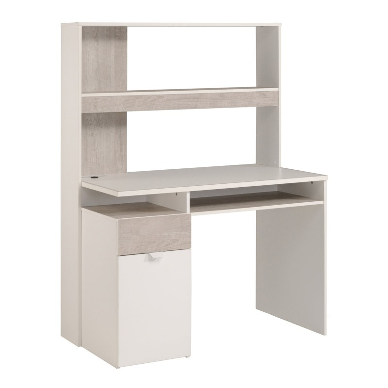 bureau enfant nybro 152cm blanc gris loft. Black Bedroom Furniture Sets. Home Design Ideas