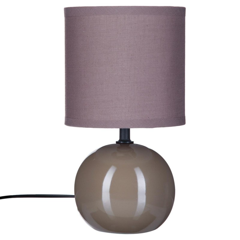 lampe poser c ramique boule 25cm taupe. Black Bedroom Furniture Sets. Home Design Ideas
