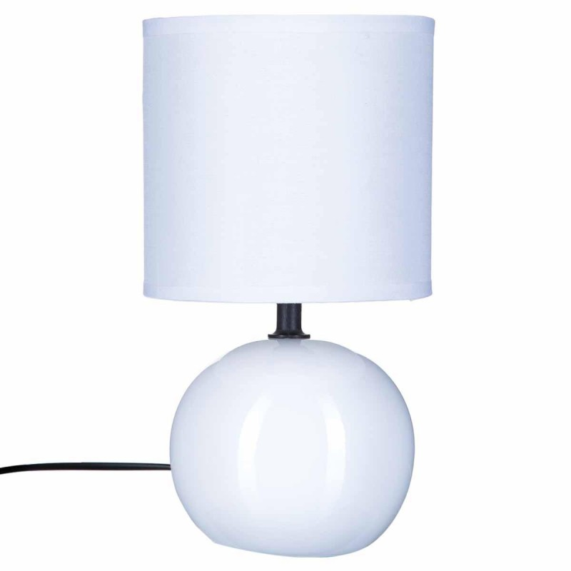 lampe poser c ramique boule 25cm blanc. Black Bedroom Furniture Sets. Home Design Ideas