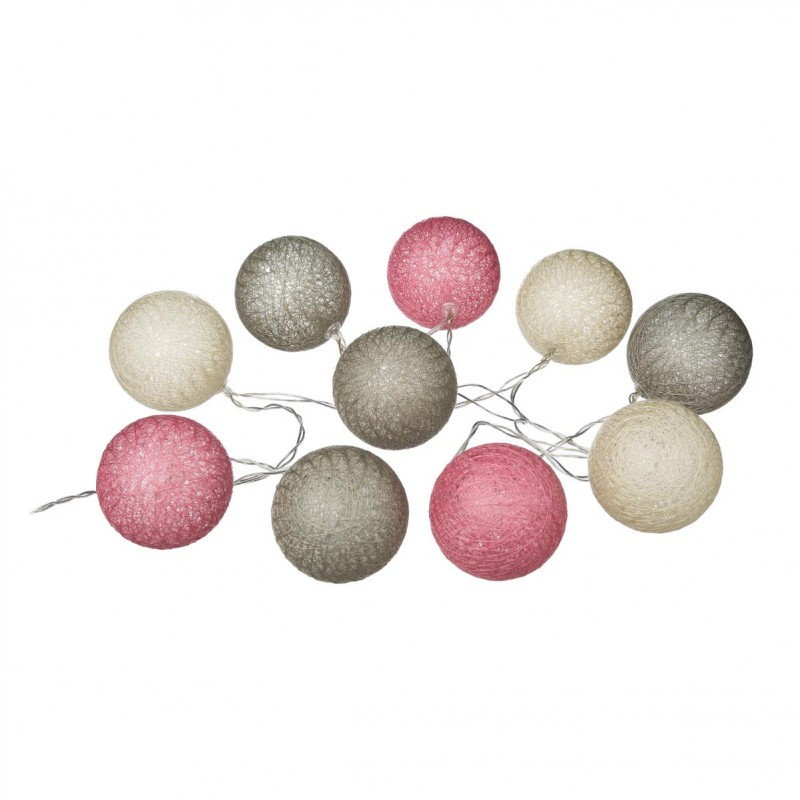 guirlande led 10 boules 165cm pastel. Black Bedroom Furniture Sets. Home Design Ideas