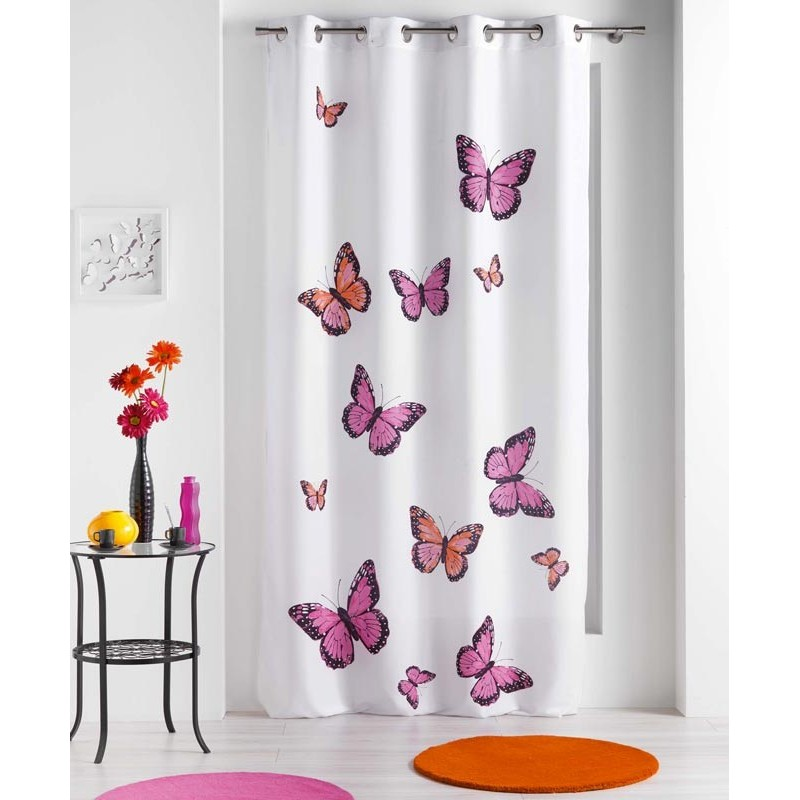 Rideau papillons bella rose 140x240cm for Rideau occultant rose pale