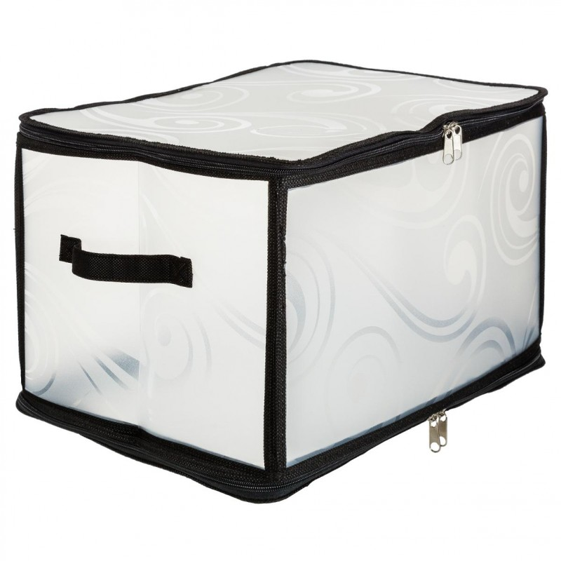 bo te de rangement transparente 40cm noir. Black Bedroom Furniture Sets. Home Design Ideas