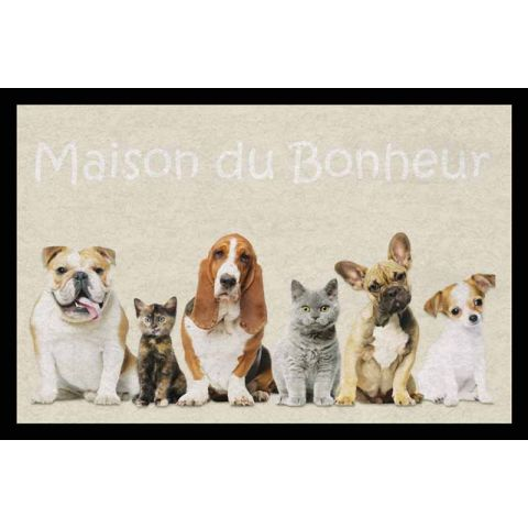 "Tapis Rectangulaire ""Family Dog & Cat"" 40x60cm Beige"