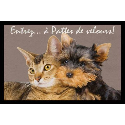 "Tapis Rectangulaire ""Chat & Chien"" 40x60cm Marron"