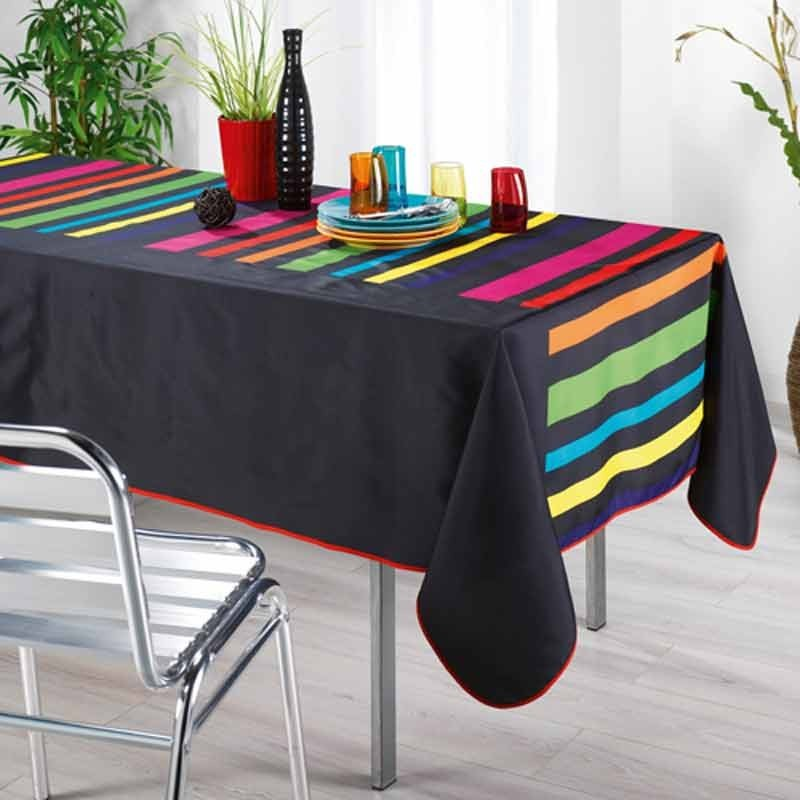 Nappe rectangulaire colors noir 150x240cm - Nappe de cuisine rectangulaire ...