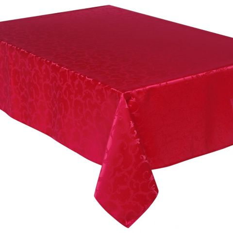 "Nappe Anti-Tâches ""Jacquard Arabesque"" 140x240cm Rouge"