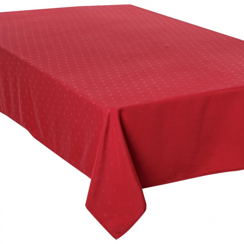 nappe anti t ches jacquard carr 150x300cm rouge. Black Bedroom Furniture Sets. Home Design Ideas