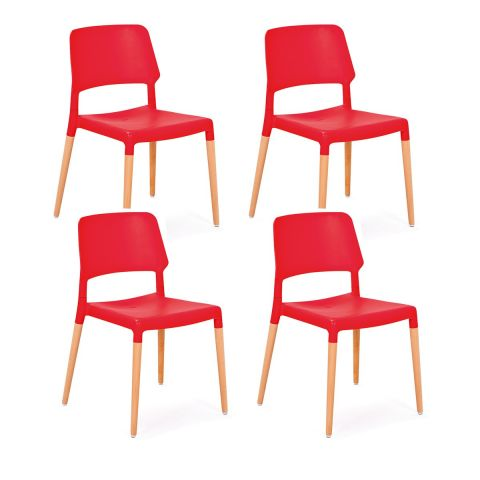 "Lot de 4 Chaises ""Deli"" Rouge"