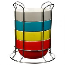 "Set de 4 Bols avec Rack ""Uni"" 50cl Multicolore"