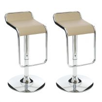 "Lot de 2 Tabourets de Bar ""Cosmo"" Taupe"