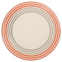 "Lot de 6 Assiettes Plates ""Halo Corail"" 27cm Taupe & Orange"