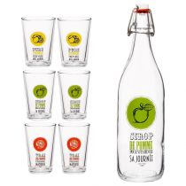 "Lot de 6 Verres & Bouteille ""Fruit"" Transparent"