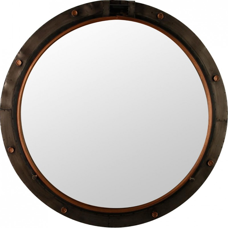 miroir rond m tal hublot 74cm marron. Black Bedroom Furniture Sets. Home Design Ideas