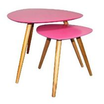 "Set de 2 Tables d'Appoint Design ""Mileo"" Rose"