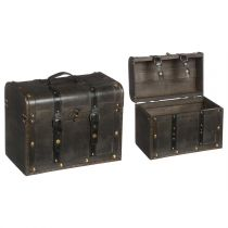 "Lot de 2 Malles en Bois ""British Club"" Marron"