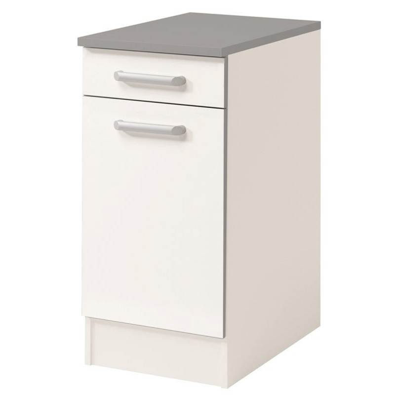 Meuble bas 1 tiroir 1 porte 40 cm shiny blanc for Meuble 1 porte
