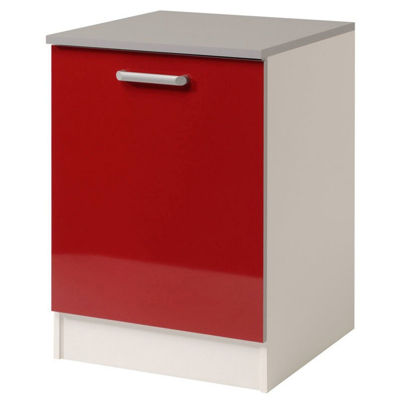 meuble bas 1 porte 60 cm shiny rouge