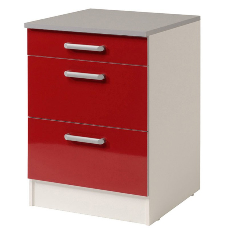 Meuble bas 3 tiroirs 60 cm shiny rouge for Meuble 3 tiroirs