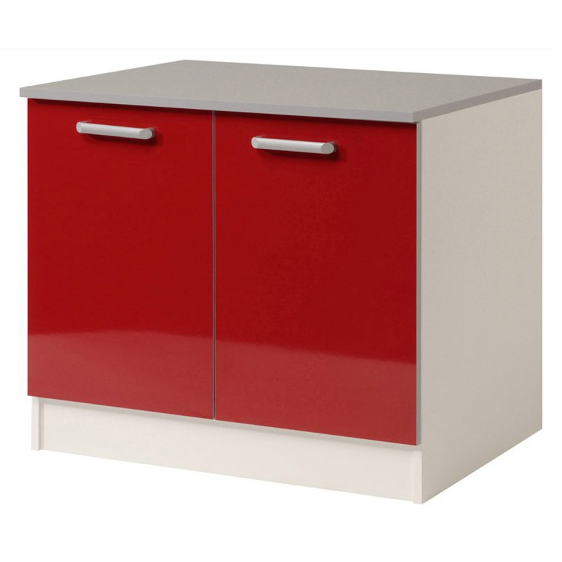 Meuble bas 2 portes 120 cm shiny rouge for Meuble de cuisine 2 portes