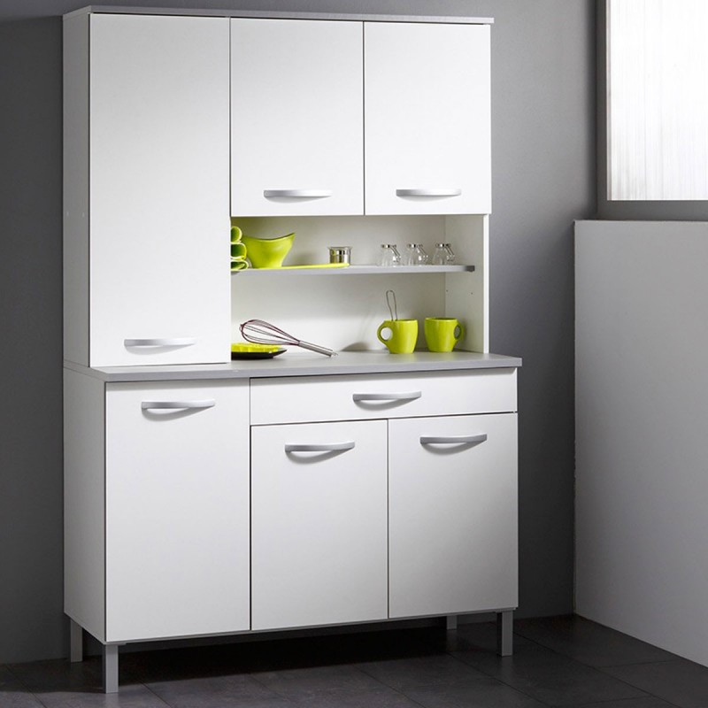 Buffet de cuisine smarty 120cm blanc for Buffet de cuisine haut