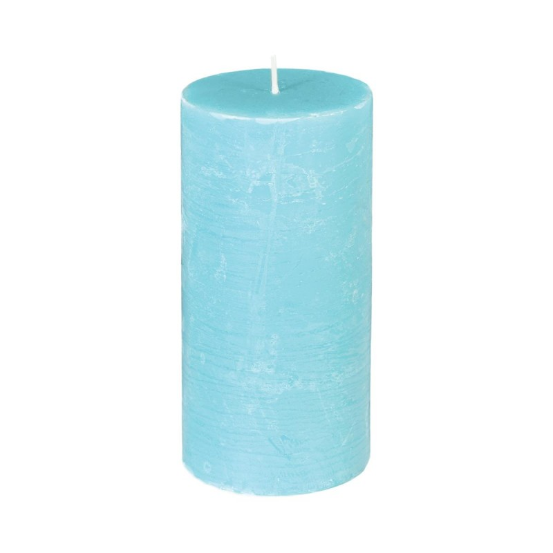 Bougie Cylindrique Rustic 14cm Turquoise