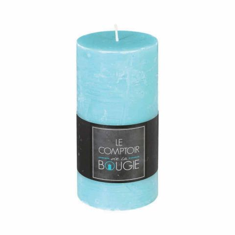 """Bougie Cylindrique """"Rustic"""" 14cm Turquoise"""