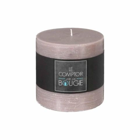"""Bougie Cylindrique """"Rustic"""" 10cm Taupe"""