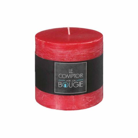 "Bougie Cylindrique ""Rustic"" 10cm Rouge"