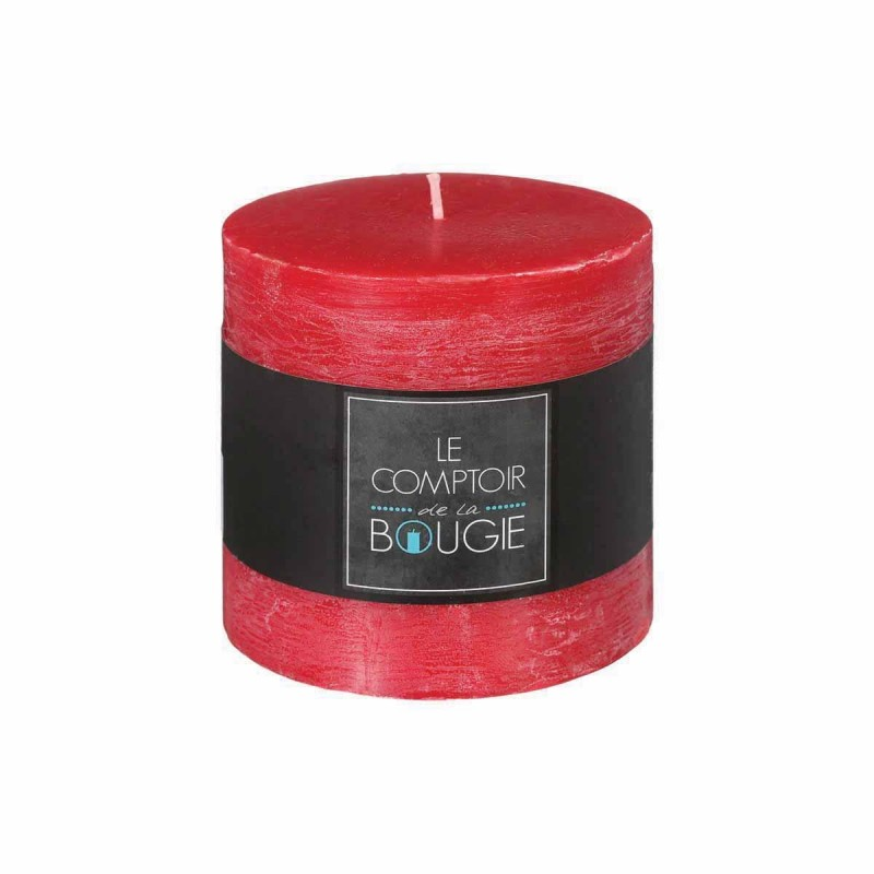 Bougie Cylindrique Rustic 10cm Rouge