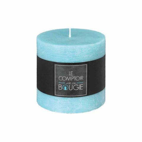 "Bougie Cylindrique ""Rustic"" 10cm Turquoise"