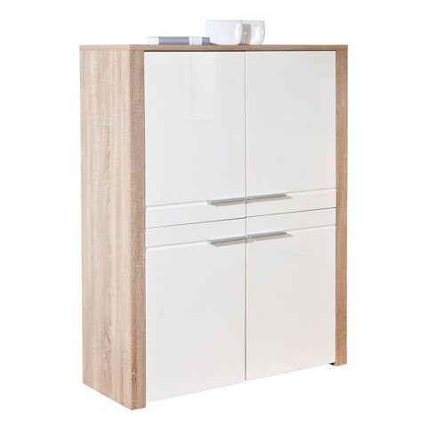 "Bahut 4 Portes ""Swift"" 107cm Blanc & Naturel"