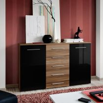 "Buffet 2 Portes Design ""Fox"" 150cm Noir & Tiroirs Bruns"