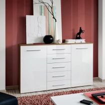 "Buffet 2 Portes Design ""Fox"" 150cm Prunier & Blanc"