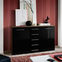 "Buffet 2 Portes Design ""Fox"" 150cm Prunier & Noir"