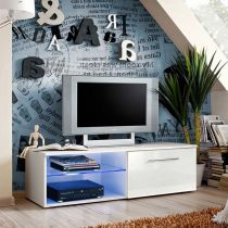 "Meuble TV Design ""Bono IV"" 120cm Blanc"