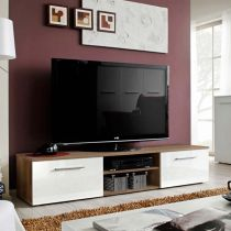 "Meuble TV Design ""Bono II"" 180cm Blanc & Brun"