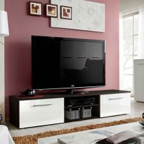 "Meuble TV Design ""Bono II"" 180cm Blanc & Wengé"