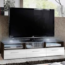 "Meuble TV Design ""Fresh"" 150cm Blanc & Noir"