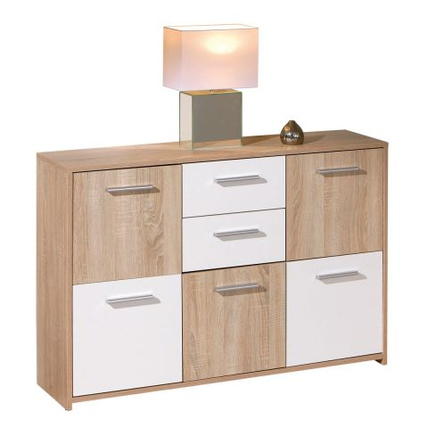 "Commode 5 Portes ""Victoria"" 115cm Blanc & Naturel"