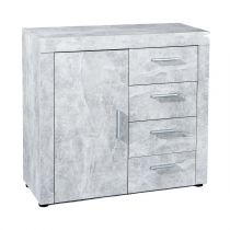 "Commode 4 Tiroirs ""Concrete"" Gris"